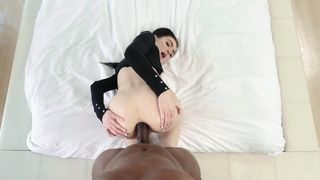 Filling up this chubby wife's pussy to the brim with his massive, black cock