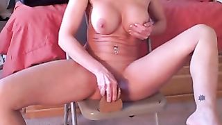 Homemade wife alone dildo-fuck this skinny chick rides her oiled dildo like a pro