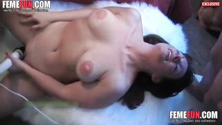 Wife mutual masturbation! Rubbing his balls along with the handjob for a titty cumshot