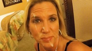 Obedient wife lets her perverted husband cum on her face! Slow and sensual blowjob to paint her face with my cum