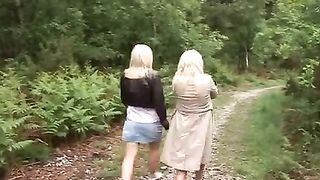 Two wives suck off stranger in forest! Dude gets an amazing blowjob from these gorgeous, sizzling blondes