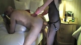 Wife in a fishnet pegs her lover's ass and then gets her anal nailed