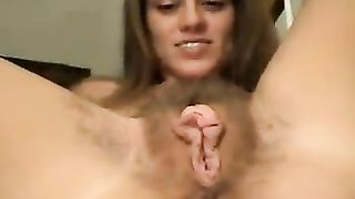 Slutty wife spreads her hairy pussy to get his cock then rubs her clit and gets fingered