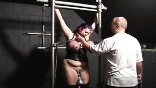 Slut wife bondage and humiliation, giving her pussy hard cock while her tits are tied tight