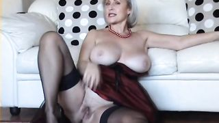 Mature blonde housewife is craving cock shows off her age and natural tits