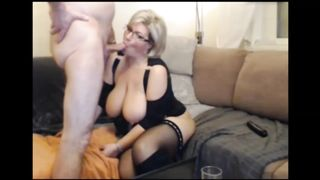 Brunette beauty wife can't help but touch herself while blowing his tasty cock