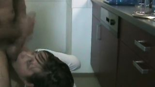Cute blonde wife with short hair gets hardcore sex and a tongue cumshot in the kitchen