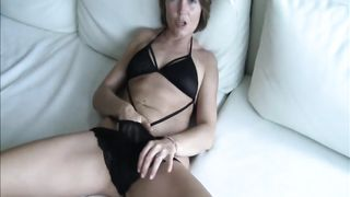 Hot milf wife and her cucumbers,  brunette with tattoos and piercings on her pussy stuffs a cucumber inside her