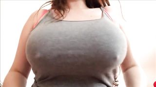 Wife exposing her big, beautiful titties so her man can totally have some fun with it