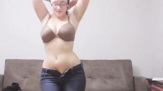 Brunette wife wearing her skimpy, black undies flaunts herself on the webcam