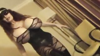 Chunky fat mature wife in sexy black lingerie shows her big tits and stinky butt