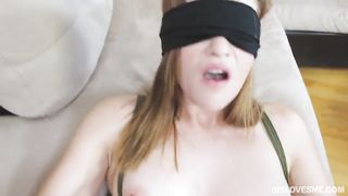 Blindfolded my wife sucks my wang and lets me cum on her face