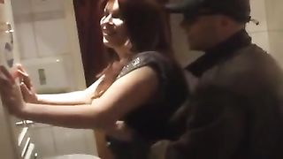 Mature wife fucked in bathroom she naked and on her knees deepthroating him