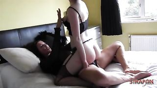 Classy babe turns into horny slut fucking big strapon cock