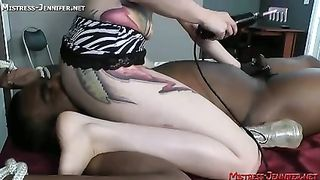 Interracial femdom Strapon pegging and milking