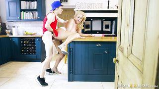 Horny busty mom fucks step son on the kitchen