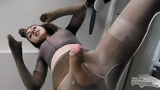 Crazy pantyhose encasement with Mia