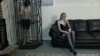 Femdom Mistress pussy control and pegging of male submissive