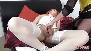 Sexy femdom fucks blonde trannys tight ass with two strapons