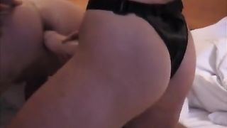 Skinny horny white wife pegging her guy in the arse with a dong