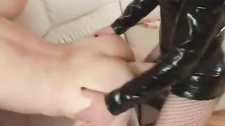 Happy old stud bows over for anal fisting and pegging
