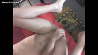 Dude widens his legs wide for anal pegging