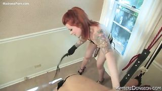 Dominating tattooed redhead doxy pegging a wanting fellow while he is fastened