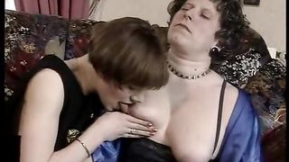 Naughty minded granny fucked by a dong knob