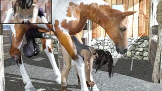 Huge horse with large balls unbelievably bonks hard its owner