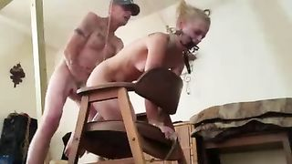 BLONDE WIFE SLAVE USED & ABUSED WHILE IN BONDAGE