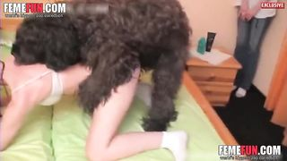 [Sexy Wife XXX] Playful slender brunette and hairy doggy are having awesome sex