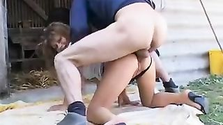 Mature amateur wife cheating on husband with farmer boy in old barn