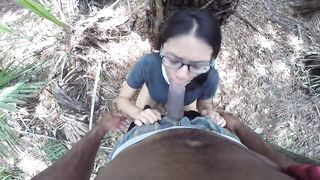 Nerdy Asian wife fucks BBC in park then drinks cum