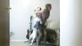 [Wife fuck dog on HiddenCam] Fresh faced young wife lifts her jean skirt for beastiality fun with her pet