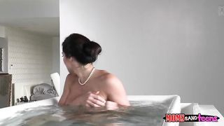 Busty mom masturbates in the bathroom and her son takes a video of her