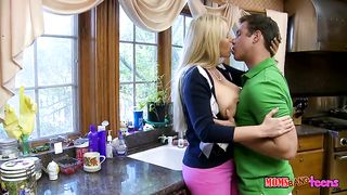 Busty mom fucks hard with her young handsome stepson and enjoys it