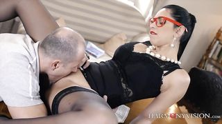 Sexy brunette WIFE XXX in glasses enjoys upskirt rear banging indoors
