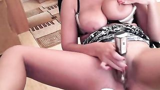 I can't stop drilling my mature pussy with my favorite sex toy