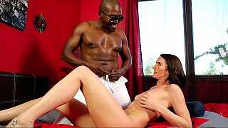 Busty white wife gives head to this big black man on cam