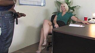 [ Office, Interracial XXX ] Slutty blondie wife sucks big juicy black dick