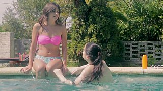 [ Sisters XXX in the pool ]  Twin sisters lesbians fuckin on outdoors