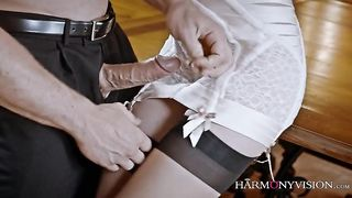 Hot daughter in sexy stockings enjoys sex with her dad and sucks his dick