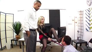 "Beautiful ""milf wife""  dominates over husband in front of her lover"