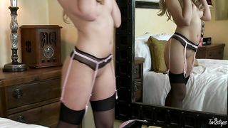 slut wife in sexy stockings masturbates in front of the mirror