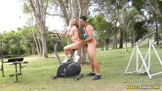 Naked blonde girl gets seduced and fucked outdoors by her horny brother
