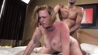 My hot white wife fucks a nerdy black guy in our bedroom