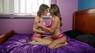 Sensual lesbian scene by two juicy amateur sisters in sexy lingerie