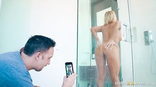 Dude takes a pic of his nude stepmom in a shower and gets his dick sucked
