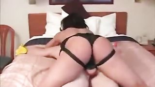 Stunning toned brunette hair non-professional using a large ding-dong 10-Pounder to peg a man in the ass