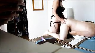Middle mature man enjoys when his slutty wife gives him a admirable anal pegging with a dong